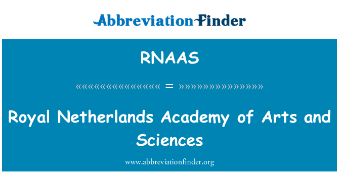 RNAAS: Royal Netherlands Academy of Arts and Sciences