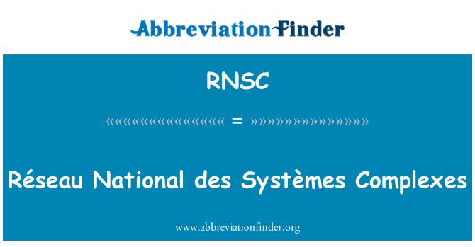 RNSC: Réseau National des Systèmes Complexes