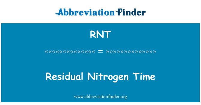 RNT: Residual Nitrogen Time