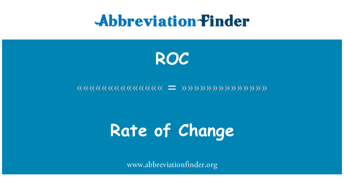 ROC: Rate of Change