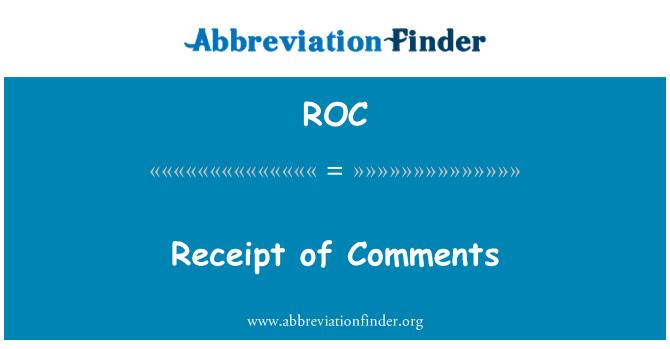 ROC: Receipt of Comments