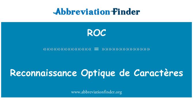 ROC: Reconnaissance Optique de Caractères