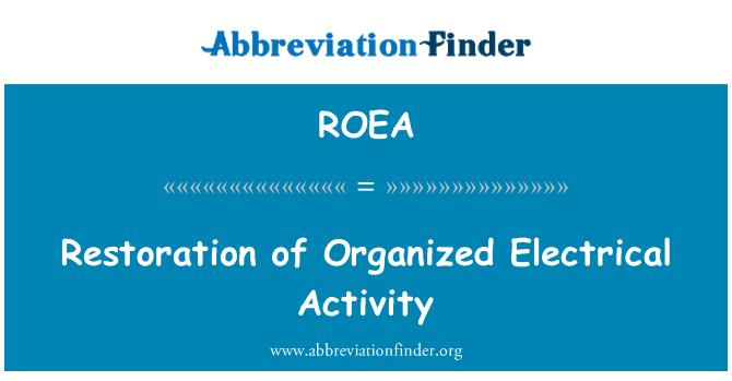 ROEA: Restauración de la actividad eléctrica organizada