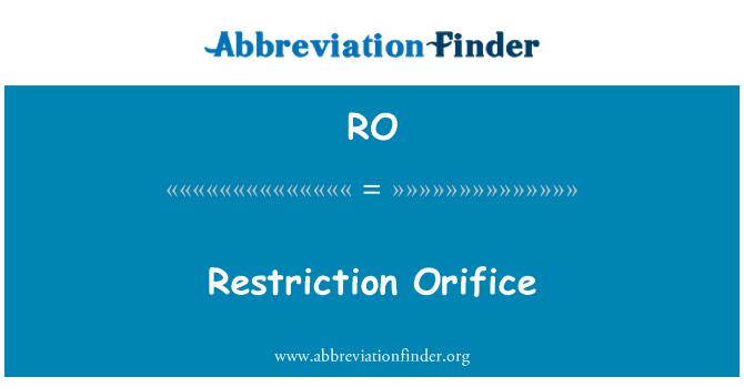 RO: Restriction Orifice