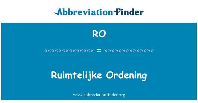 RO: Ruimtelijke Ordening