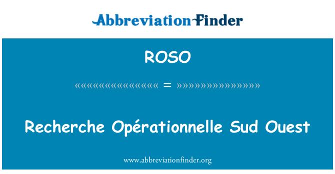 ROSO: Recherche Opérationnelle Sud-Ouest
