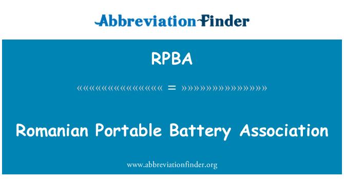 RPBA: Romanian Portable Battery Association