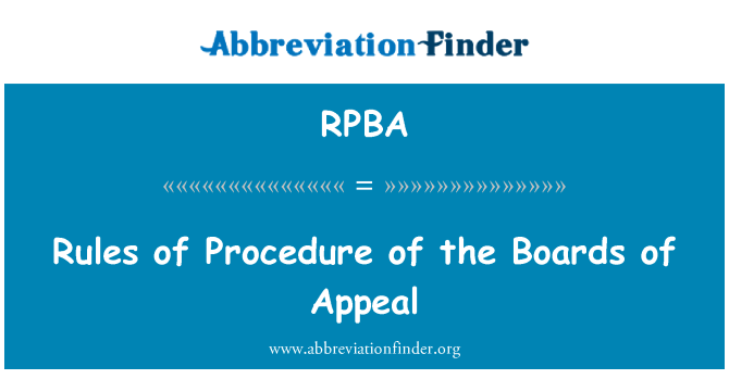RPBA: Rules of Procedure of the Boards of Appeal