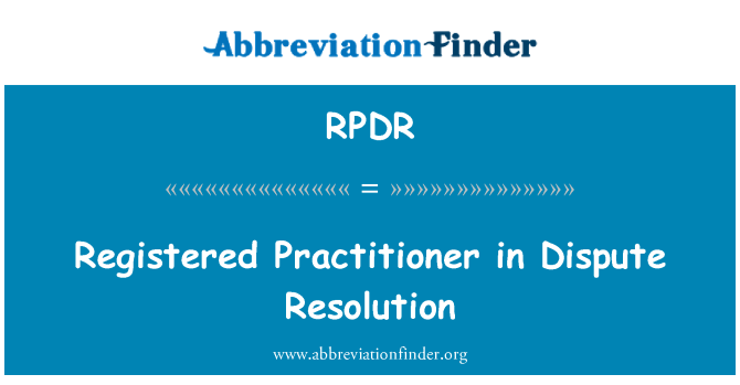 RPDR: Registered Practitioner in Dispute Resolution