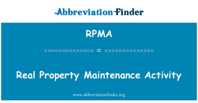 RPMA: Actividad de mantenimiento de bienes inmuebles