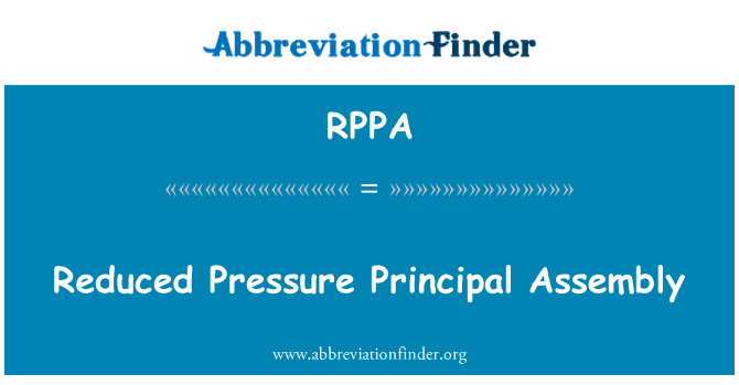 RPPA: Reduced Pressure Principal Assembly
