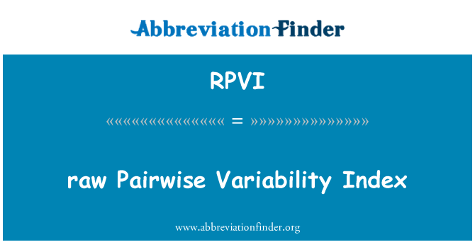 RPVI: raw Pairwise Variability Index