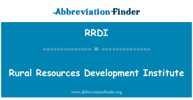 RRDI: Rural Resources Development Institute