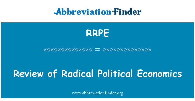 RRPE: Review of Radical Political Economics