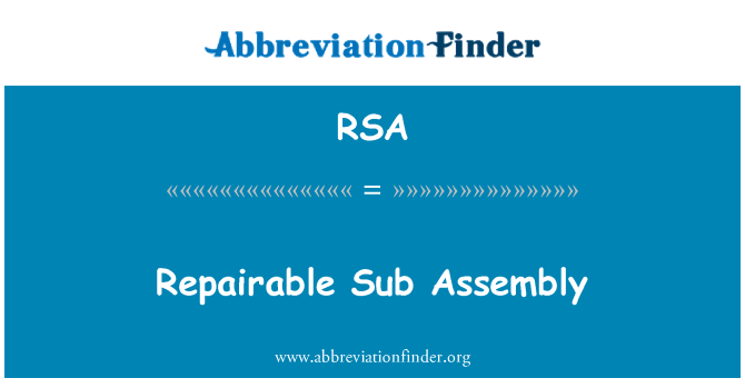 RSA: Repairable Sub Assembly