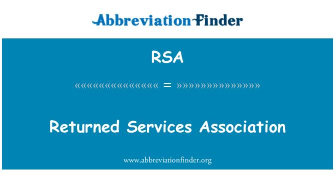 RSA: Returned Services Association