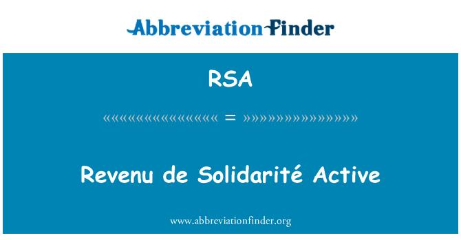 RSA: Revenu de Solidarité Active