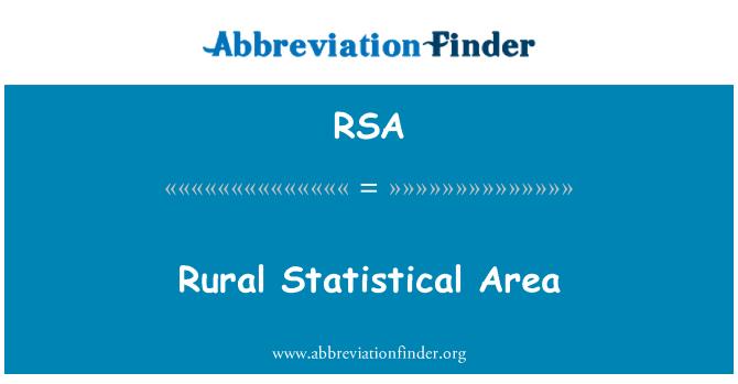 RSA: Rural Statistical Area