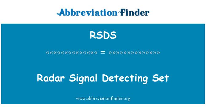 RSDS: Sistema de detección de señal de radar