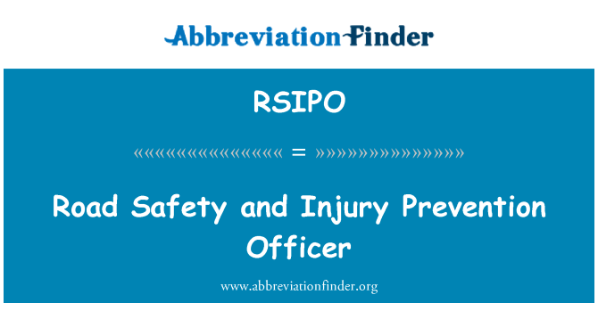 RSIPO: Road Safety and Injury Prevention Officer