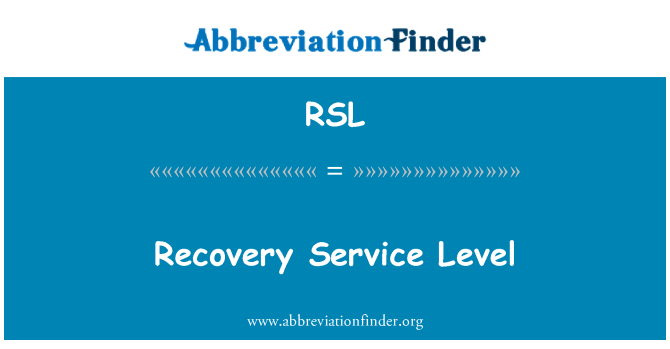 RSL: Recovery Service Level