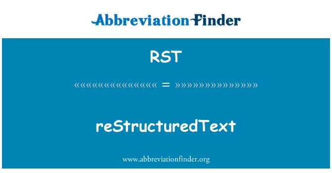 RST: reStructuredText