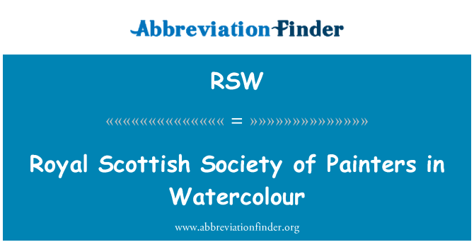 RSW: Royal Scottish Society of Painters in Watercolour