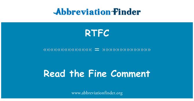 RTFC: Leer el comentario bien