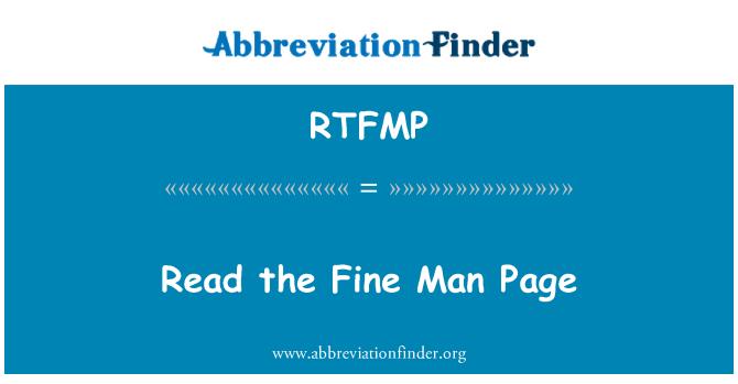 RTFMP: Read the Fine Man Page
