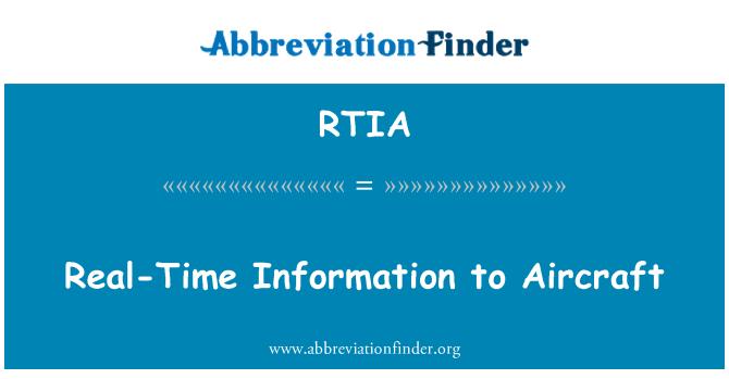 RTIA: Información en tiempo real a las aeronaves