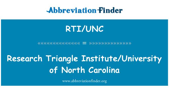 RTI/UNC: Research Triangle Institute/University of North Carolina