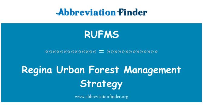 RUFMS: Regina Urban Forest Management Strategy