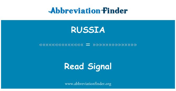 RUSSIA: Señal de lectura