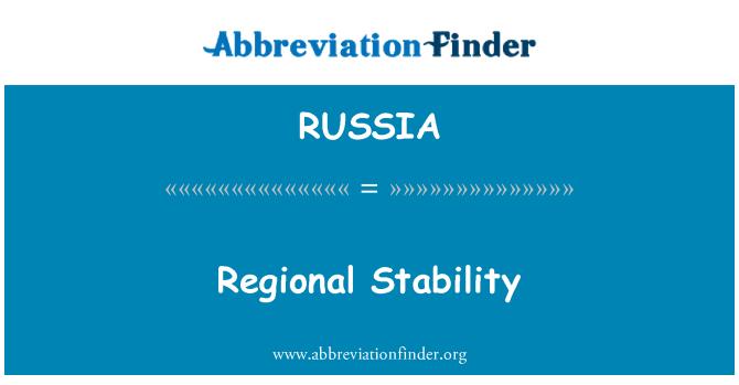 RUSSIA: Estabilidad regional