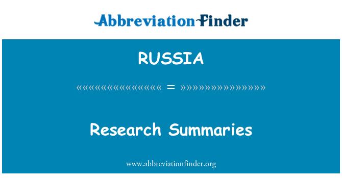 RUSSIA: Resúmenes de investigación