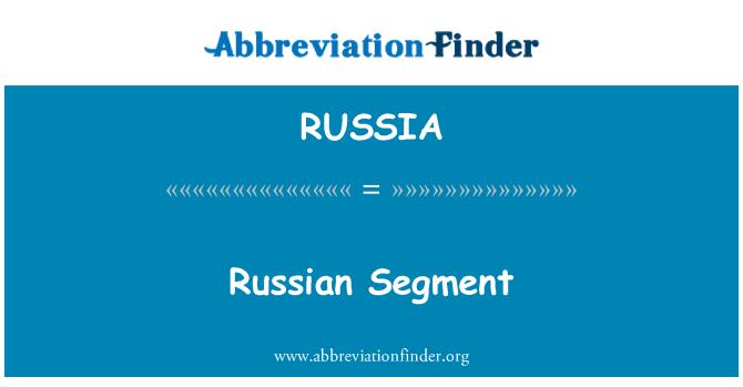 RUSSIA: Segmento ruso