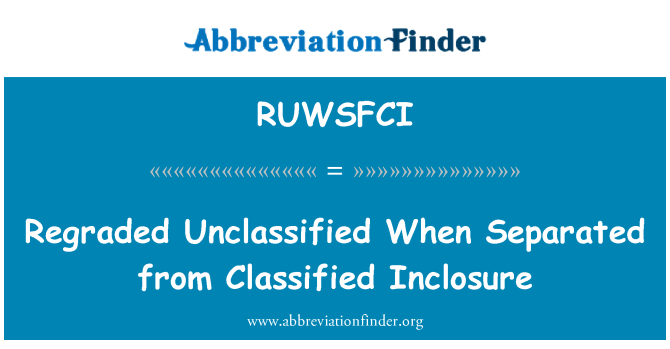 RUWSFCI: Regraded Unclassified When Separated from Classified Inclosure