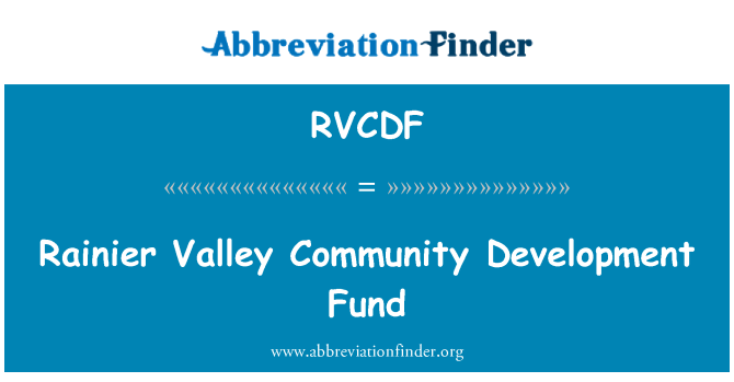 RVCDF: Rainier Valley Community Development Fund