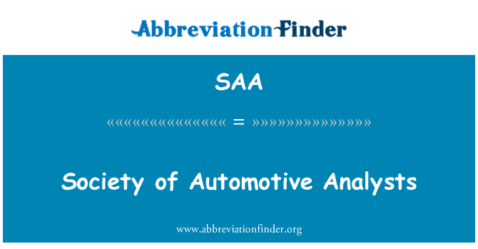 SAA: Society of Automotive Analysts