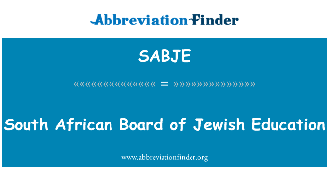 SABJE: South African Board of Jewish Education