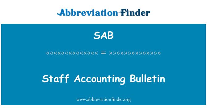 SAB: Staff Accounting Bulletin