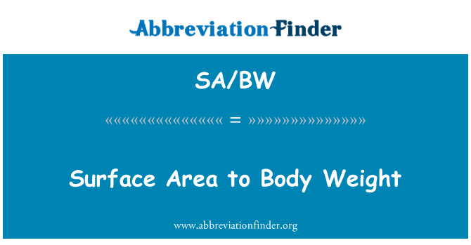 SA/BW: Surface Area to Body Weight