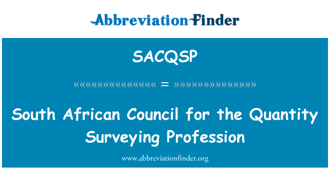 SACQSP: South African Council for the Quantity Surveying Profession