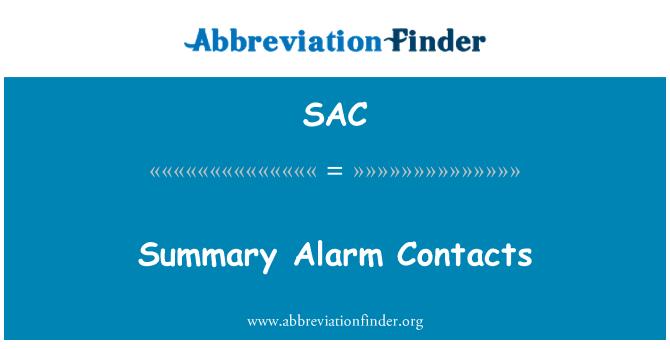 SAC: Summary Alarm Contacts