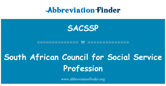 SACSSP: South African Council for Social Service Profession