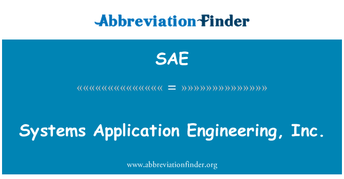 SAE: Systems Application Engineering, Inc.
