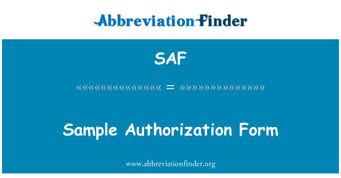 SAF: Sample Authorization Form