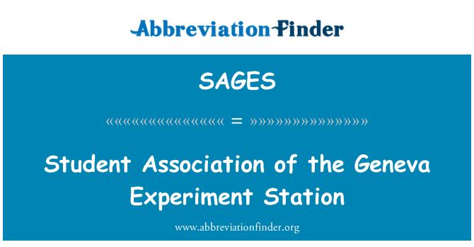SAGES: Student Association of the Geneva Experiment Station