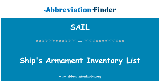 SAIL: Lista de inventario de armamento de la nave