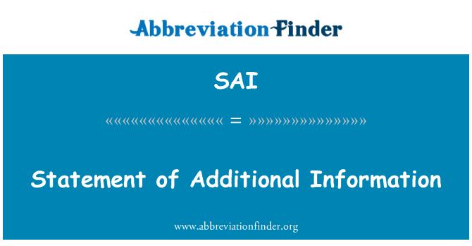 SAI: Statement of Additional Information